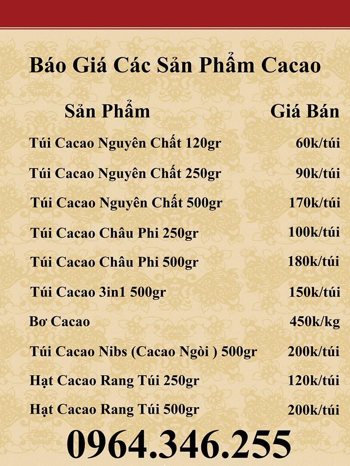 bảng giá bột cacao